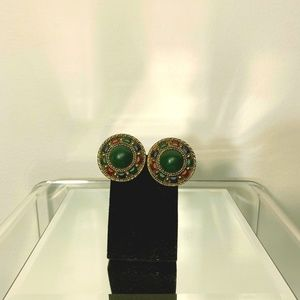 Vintage inspired bronze earrings with green stone
